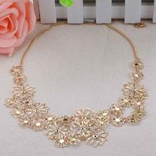2014 Multilayer gold hollow flowers statement necklaces for women choker necklace Free shipping ZMPJ461