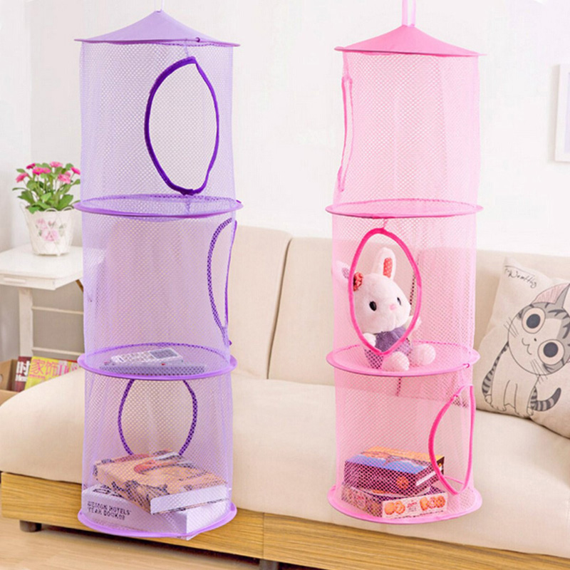 3 Shelf Hanging Storage Net Kids Toy Organizer Bag Bedroom Wall Door Closet Storage Bag Free Shipping(China (Mainland))