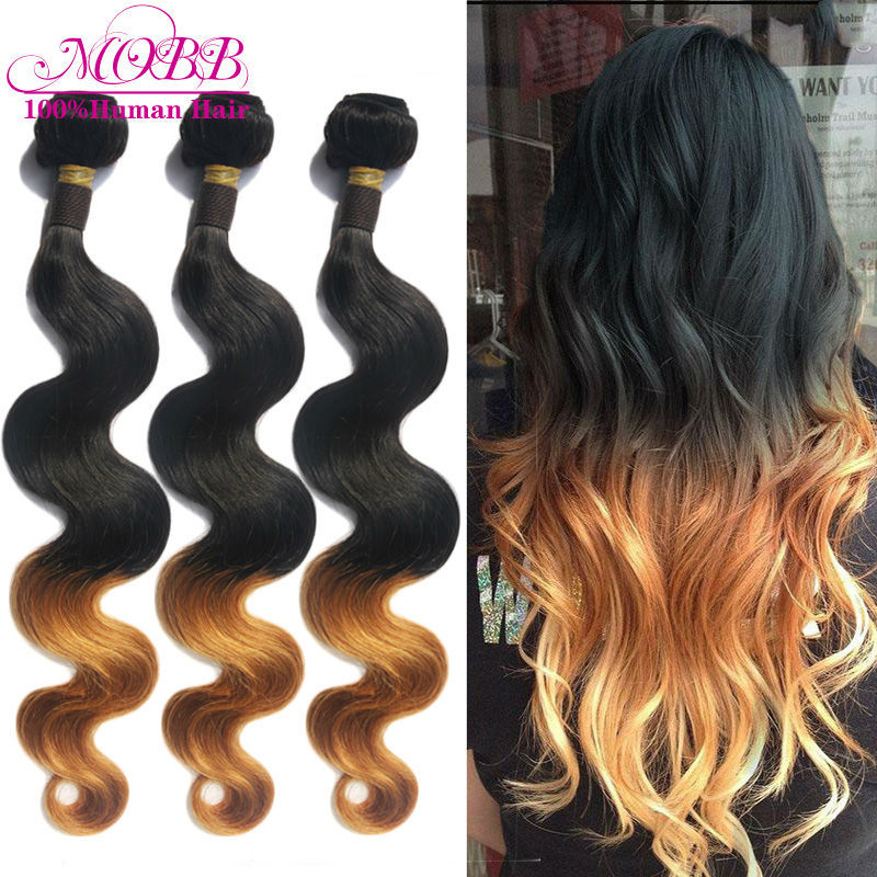 Ombre Brazilian Virgin Hair Body Wave Human Hair Extension 3 Pcs Lot MOBB Hair Product two tone 1B#27# Blonde Hair Weave Bundles(China (Mainland))