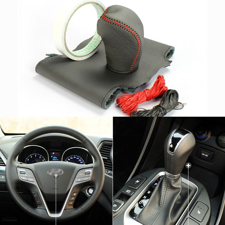 Top Cowhide Sew-on Genuine Leather Steering Wheel Cover For Hyundai New Santa Fe<br><br>Aliexpress