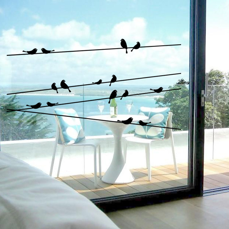 2016 new removable PVC utility poles birds sticker Glass decorative living room bedroom window wall stickers free shipping(China (Mainland))