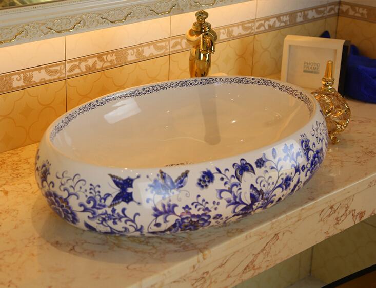 modern art style ceramic basin wash basin blue flower fragrance bathroom basin bowls in bathroom. Black Bedroom Furniture Sets. Home Design Ideas