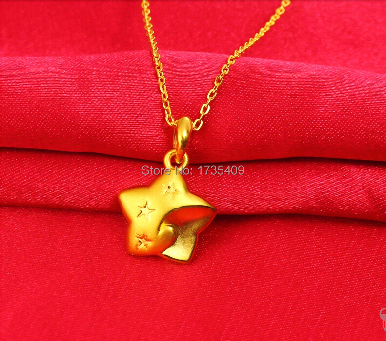 Pure 999 24K Yellow Gold Pendant 3D Star Smiling Face Pendant  1.22g<br><br>Aliexpress