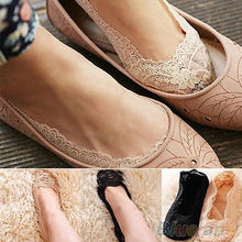 New Women Ladies Cotton Lace Antiskid Invisible Liner No Show Peds Low Cut(China (Mainland))