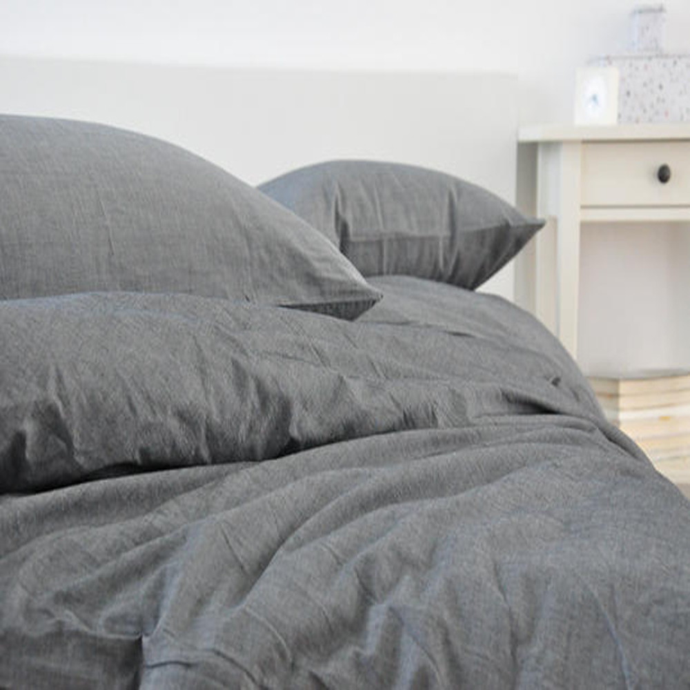 Grey washed linen duvet cover king size bed linen french for Housse de duvet