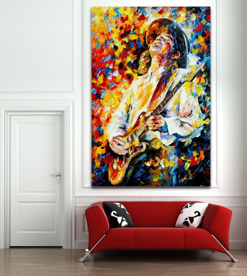 100% Handpainted Palette Knife Painting Jazz Music Instrument Art Picture Canvas Wall Hangings for Home Office Wall Decor Art(Hong Kong)
