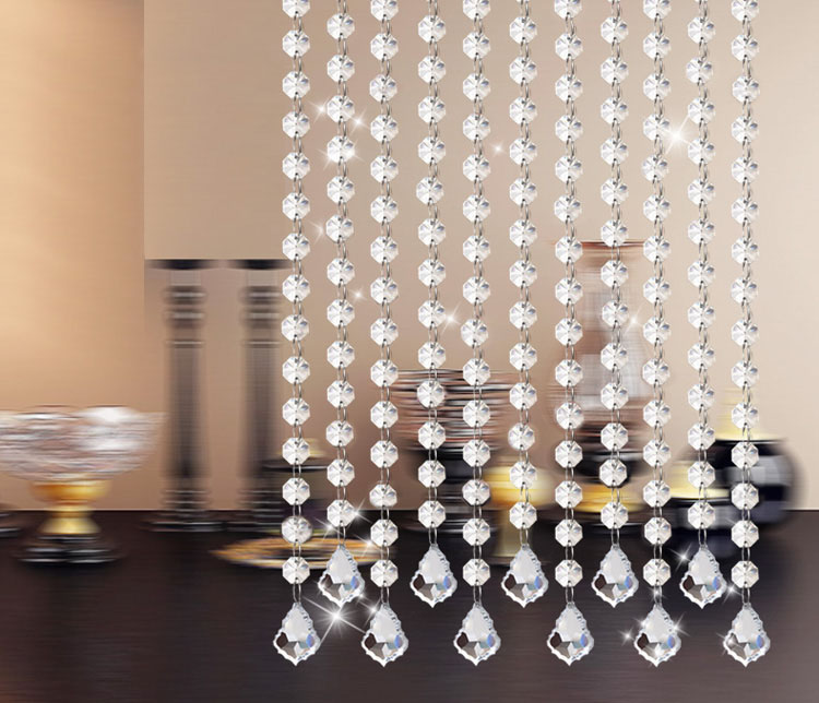 Wholesale 15 strip (1.5meter/strip) Crystal strands, Octagon beads strands, home decoration used as 14mm crystal curtain(China (Mainland))