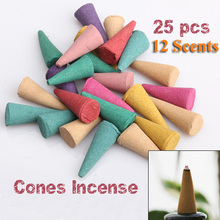 25 Mix Stowage Colorful Fragrance Triple Scent Incense Cones Home Decor Incienso Encens Free Shipping  (China (Mainland))