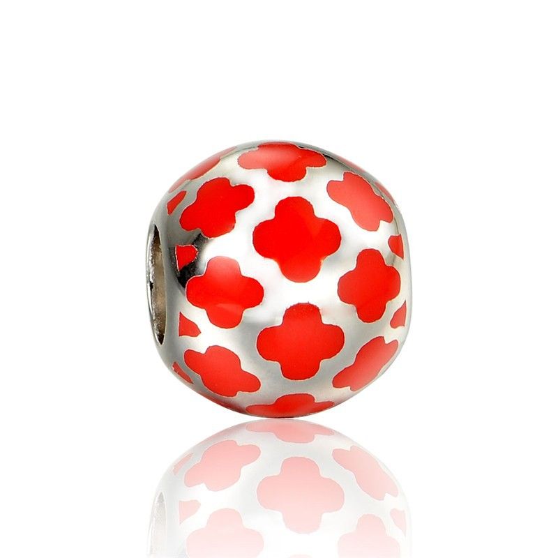 Новое Прибытие Стерлингового Серебра 925 Оранжевый Бисер Форма Цветка Подвески Fit Европейские Ювелирные Изделия Браслет AMLD014