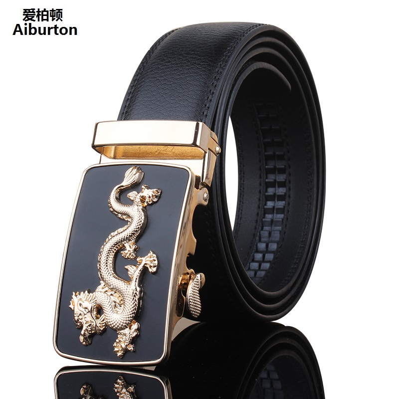 Designer belts men high quality genuine leather Golden Dragon Shape Embellished Automatic Buckle Black belt male accessories(China (Mainland))