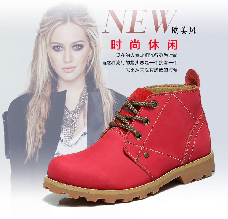 Vintage women red ankle boots british retro, 2015 autumn & winter casual female leather shoes zs9723 - Redleaf hair products Co., Ltd store
