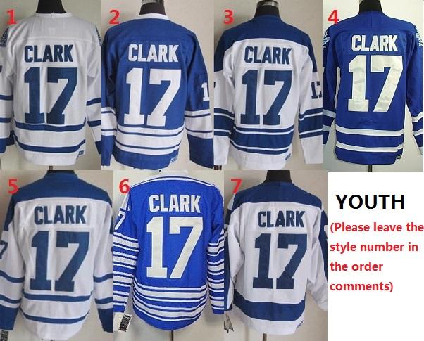 Здесь можно купить  Youth Maple Leafs #17 Clarks Ice Hockey Jersey,Toronto Kids Hockey Jerseys,size S/M and L/XL  Спорт и развлечения