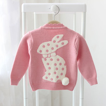 New baby girls cardigan sweater spring and autumn children sweater  cartoon rabbit fur cute infant sweater pocket()