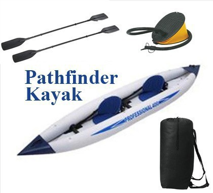 Promotion Free Shipping Jilong 2 person pathfinder canoe inflatable boat sport kayak,size 376*77*34cm, include foot pump,oars(China (Mainland))