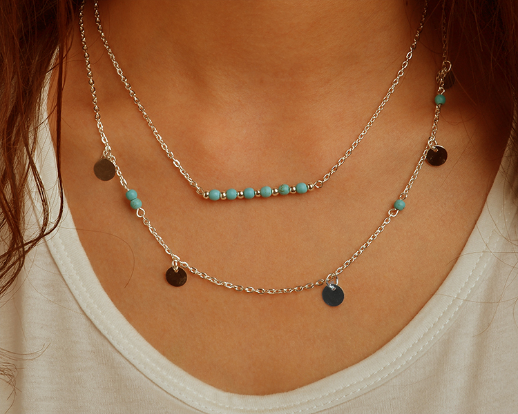 TX1209 Hot fashion simple gold silver plated double chain turquoise beads sequins necklace women best gift - fine accessory store