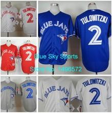 Toronto blue jays jersey 2 troy tulowitzki jersey bianco grigio blu rosso freddo cucito baseball jersey del ricamo logo(China (Mainland))