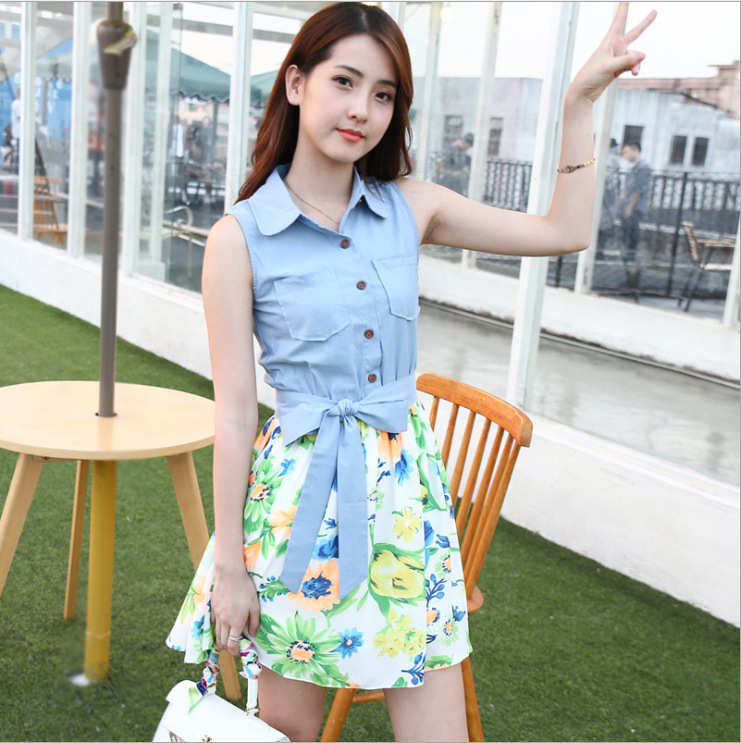 2016 New Summer Sleeveless Splicing Bump Color Chiffon Brought Little Pure Fresh Cowboy Doll Single Breasted Dress Fashion Trend(China (Mainland))