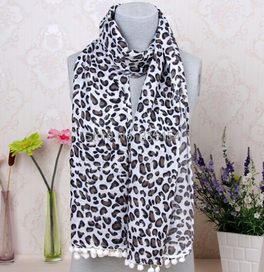 2015 Newest Pashmina Leopard Pompon Scarf Women Leopard Cotton Scarf Shawls 10pcs/lot FREE SHIPPING(China (Mainland))