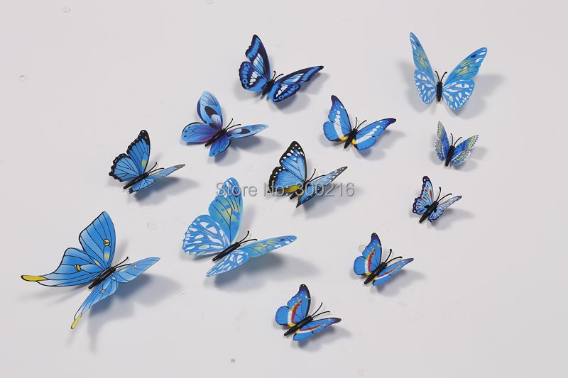 Free shipping home decor wall stickers 3D PVC butterfly stick on wall decoration, 12pcs/lot beauti your living room & bedroom(China (Mainland))