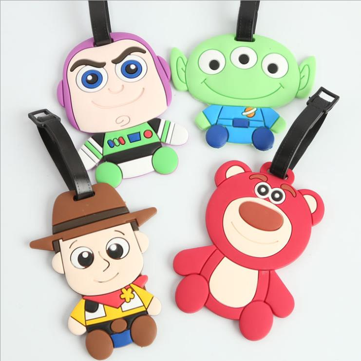 Toy Story Woody Buzz Lightyear Bear creative silicone luggage tag pendants hang tags checked brand tourist products KT1039(China (Mainland))