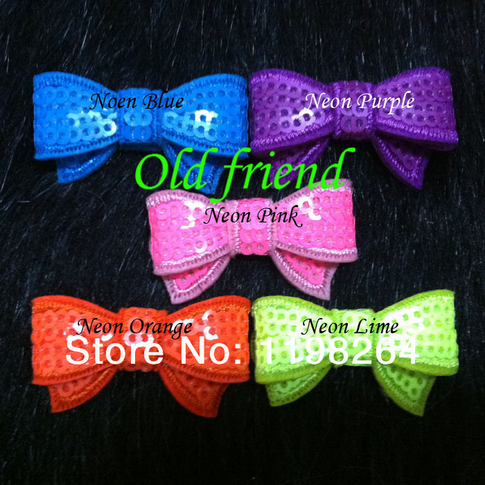 1.4'' Mini Neon Sequin bows baby bows for hair 5 color IN STOCK Free Shipping 100pcs/lot(China (Mainland))