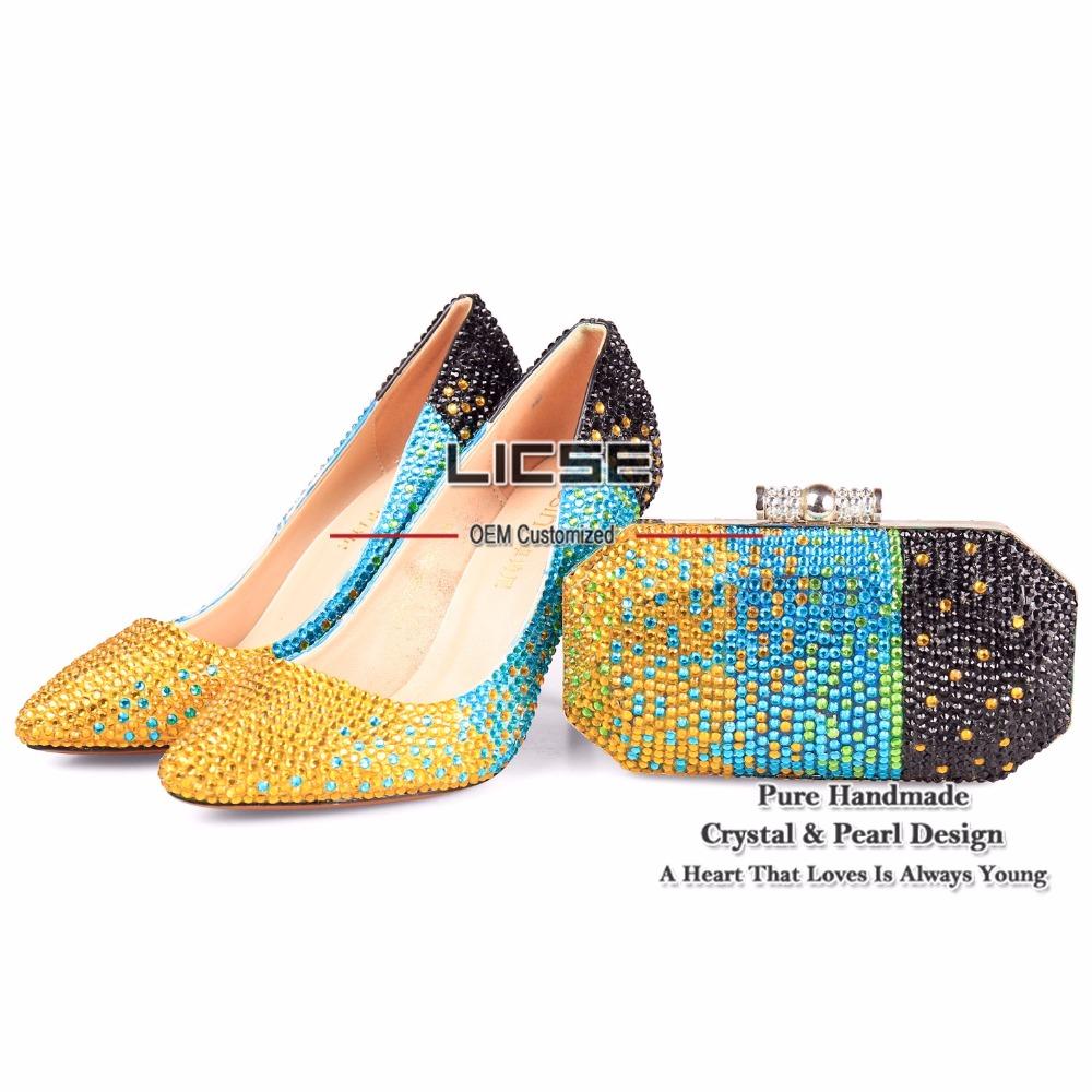 LICSE Women High Heels Pump Colorful Bride Crystal Pumps 10cm Cinderella Platform Evening Wedding Shoes With Matching Bags(China (Mainland))