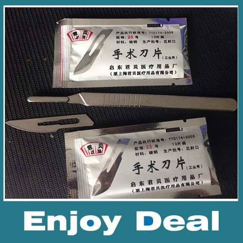 freeshipping 1pc #4 Handle+20pcs #23 Carbon Steel Surgical Scalpel Blades PCB Circuit Board(China (Mainland))