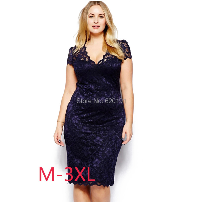 2015 New Hollow Out Lace Plus Size V-neck Dress Female Summer Dresses 3XL Lady Clothing Design Clothes free shipping(China (Mainland))