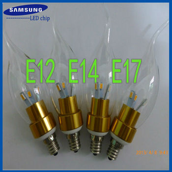 DHL/Fedex free shipping 3W E12 E14 E17 LED candelabra base bulb lamp dimmable non-dimmable AC110V or 220V with flame tip