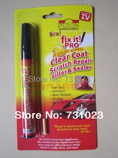 Free shipping Retail Packing 10pcs Fix it PRO Painting Pen Car Scratch Repair for Simoniz Clear Pens As seen on TV(China (Mainland))