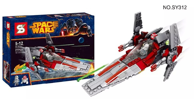 SY312 building blocks 221pcs Star Wars V-Wing Starfighter building brick toys Set w V-Wing Pilot minifigures, Astromech Droid(China (Mainland))