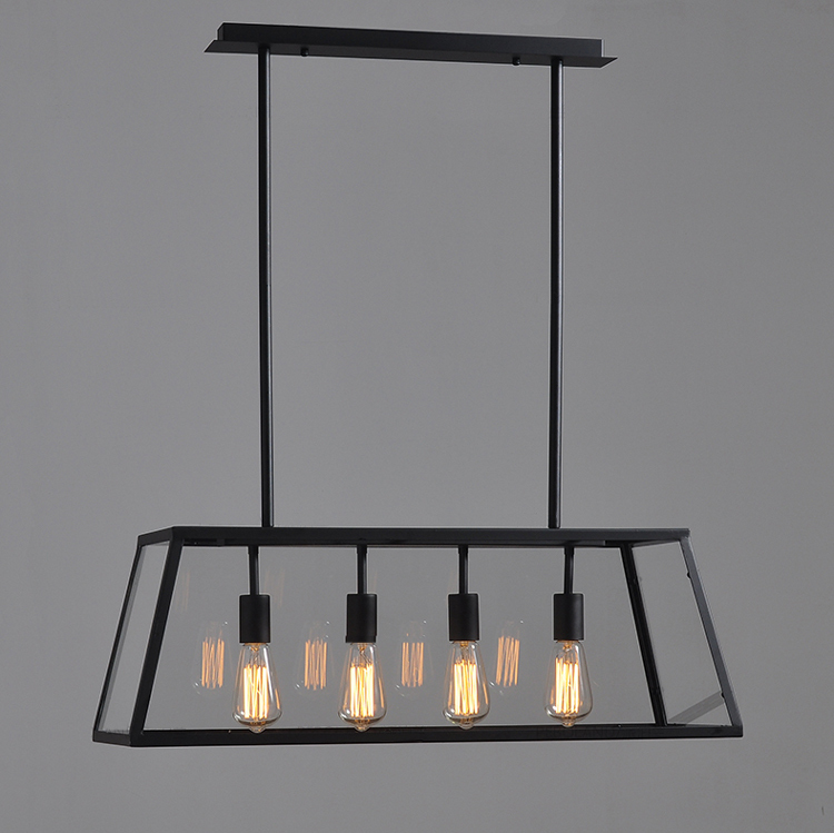 Modern vintage industrial black dining room 4 heads metal for Hanging light fixtures for dining room