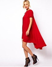 European and American Summer Style Women Solid Loose Chiffon Beach Dress Short Sleeve O-Neck Mid-Calf Women Party Dress PlusSize