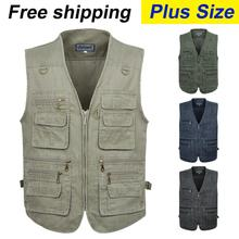 free shipping 2015 summer men's plus size jacket denim vest and outdoor casual multi-pocket waistcoat men Hot sale(China (Mainland))