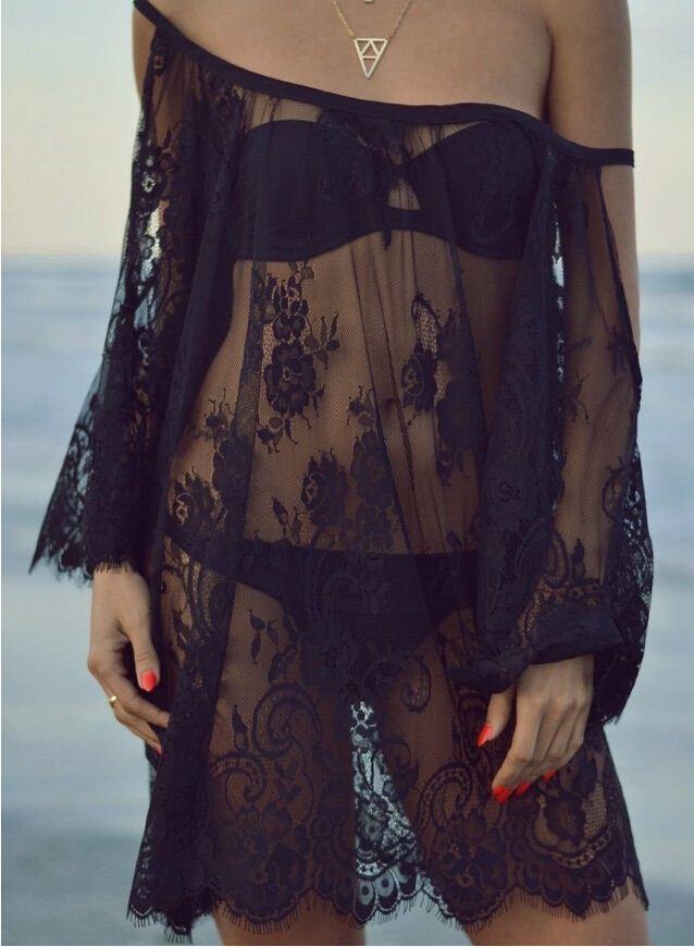 2016 Praia Tampa Up Vestido Saida de praia Pareo Encobrimento Playa Vestido Maiô Desgaste Swimwear Black White Lace Mulheres Beachwear