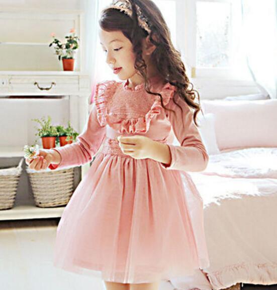 2016 New Korean Style Long Sleeve Cute Lace Ruffles Little Girls Princess Dress Children TUTU Dress Kids Mesh Dress Blue Pink<br><br>Aliexpress
