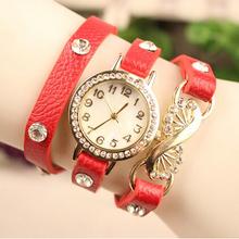 Alta calidad nueva moda llegada de múltiples capas correa de cuero Casual Watch reloj de cuarzo Rhinestone lleno hierro Inlay Ladies reloj de pulsera