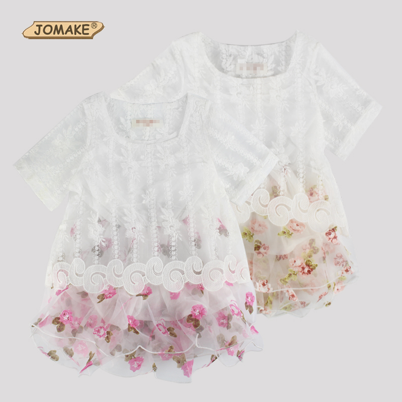 Retail Summer Dress European And American Style Kids Dresses For Girl Floral Lace Mesh Short Sleeve Princess Toddler Girls Dress(China (Mainland))