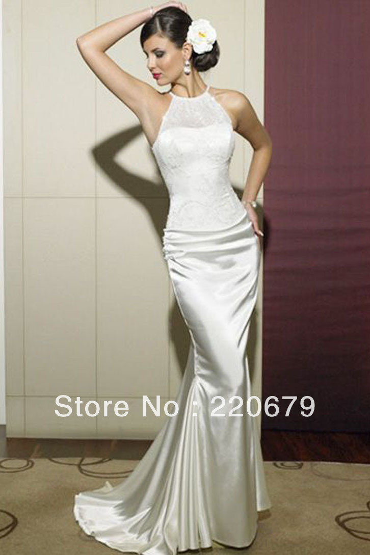 Maternity Mermaid Wedding Dresses : Unique cheap high neck lace bodice and elastic satin