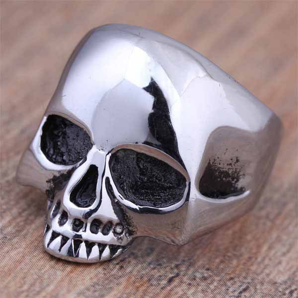 2016 New Stainless Steel Fashion Silver Cool Skull Head Finger Rings For Men Punk Jewelry Full Size 7 8 9 10 11 12 13 14 (A037)(China (Mainland))