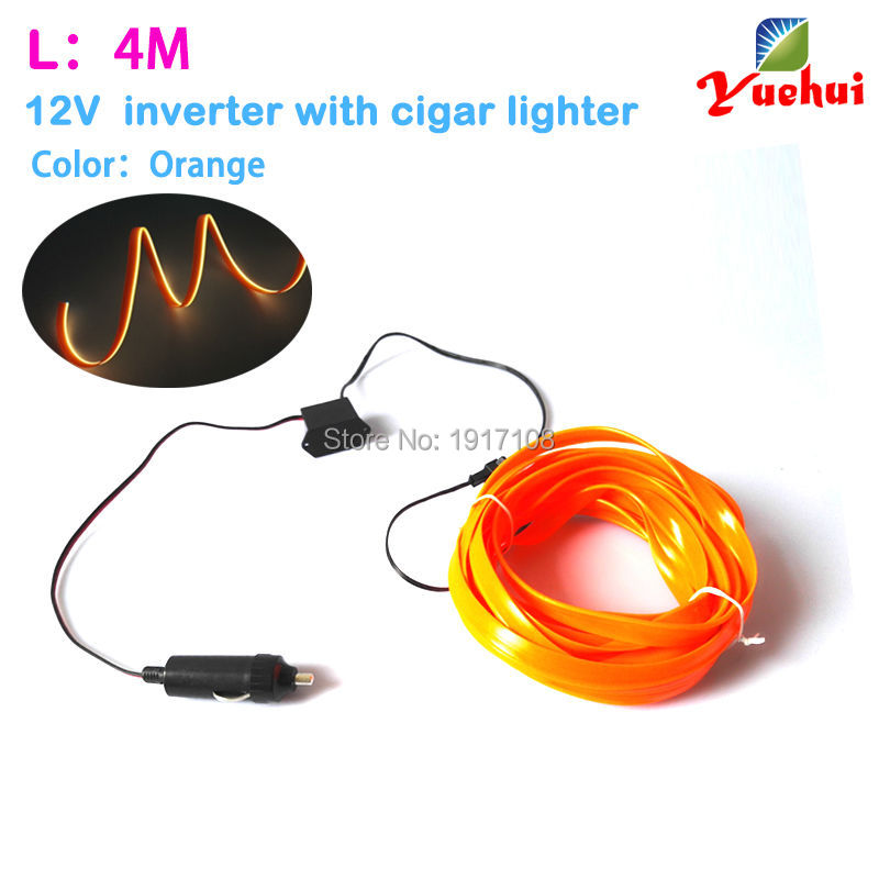 With DC-12V EL driver 10 COLOR CHOICE 4Meters 2.3mm-Skirt EL Wire Flexible Rope Tube Neon Cold Light Glow Car Party Decoration(China (Mainland))