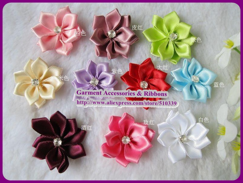 Free shipping DIY Wholesale silk lotus flower accessories,Artificial Flower with diamond,hair/shoes/cloth decoration,12 colors(China (Mainland))