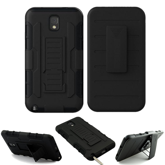 Note3 2 in 1 Impact Black Armor Hybrid Case With Belt Swivel Clip Stand for Samsung Galaxy Note 3 N9000 Mobile Phone Cover(China (Mainland))