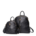 2016 Trendy Fashion Genuine Leather Backpack Solid Color Concise Travel Bag Women Designer Casual Black Cowhide