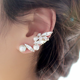 2015 New Fashion Brincos Ear Cuff Personality Crystal Pearl Gold Leaf Clip Earrings For Women ear clips Jewelry Wholesale(China (Mainland))
