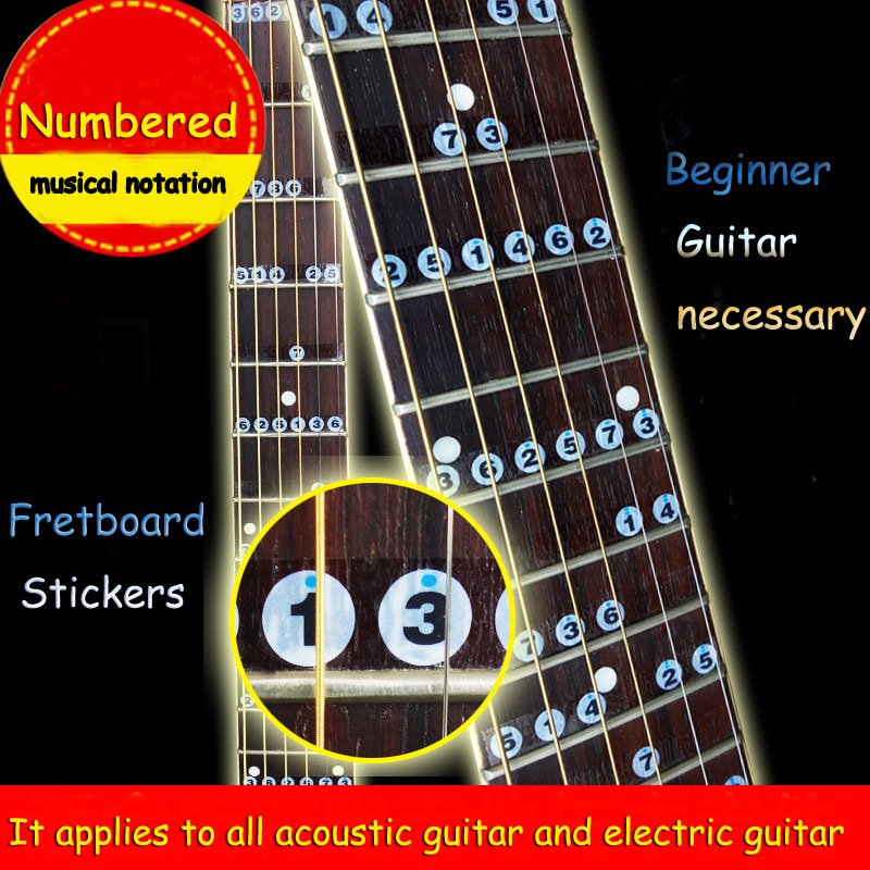 Free shipping Numbered musical notation Acoustic Electric Guitar Fretboard Note Music Stikers For Sale Decal Neck Fret Stiker(China (Mainland))