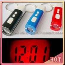 Mini Portable Projection Clock Fashion Key Chain Projector Novelty Keychain Clock & 10PCS/Lot Free Shipping(China (Mainland))