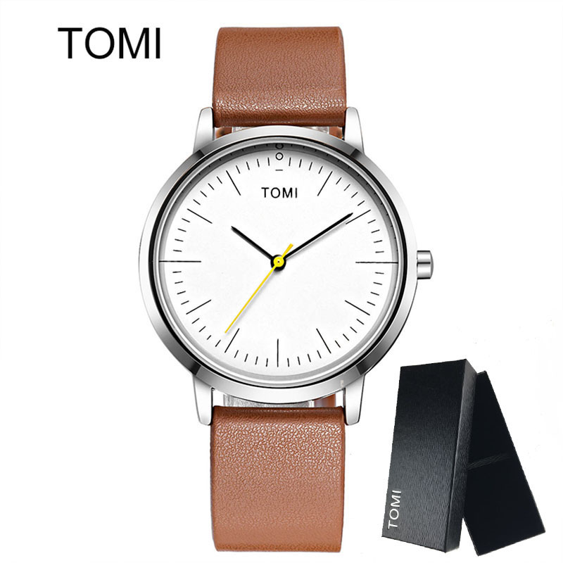 TOMI Men's Watches Woman New Luxury Brand Ultra Thin dial Leather Clock Male Casual Sport Watch Men neutral Quartz Couple watch(China (Mainland))