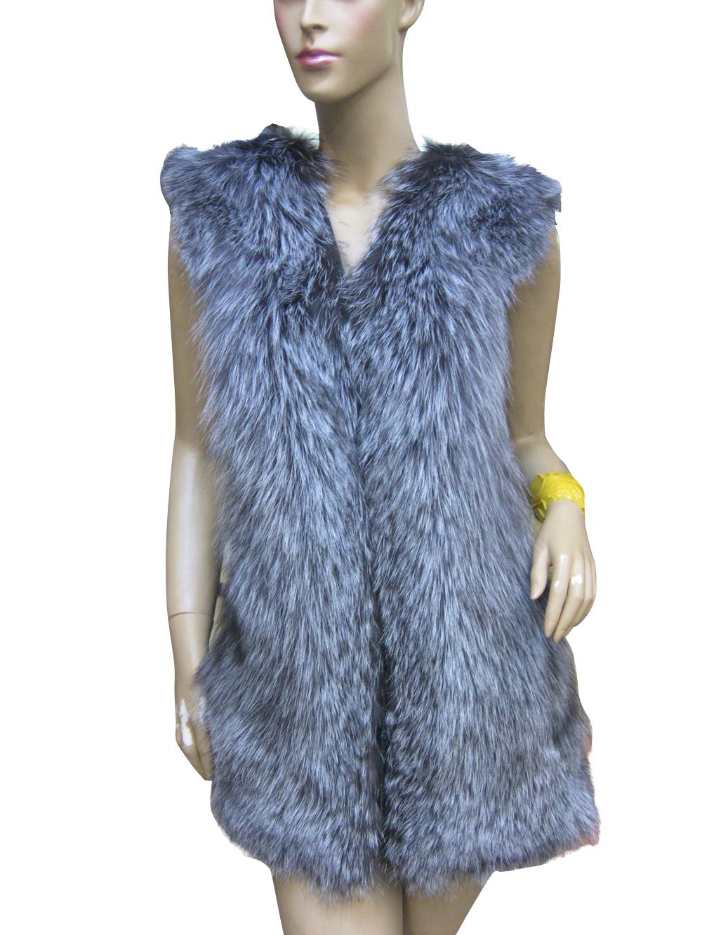 New Fashion Winter Natural Fur Vest Waistcoat Real Silver Fox Fur Add Sheepskin Leather Women Fur Vests Coat Jackets BF-V0078(China (Mainland))