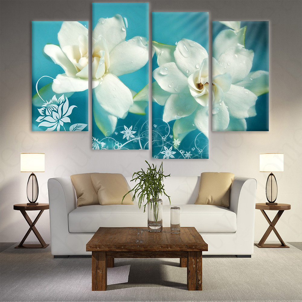 4 panel modern prints flower oil painting canvas art flowers wall pictures for living room Canvas prints for living room